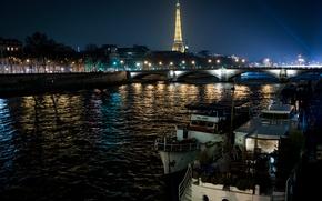 Picture trees, night, bridge, lights, river, France, Paris, home, lights, Eiffel tower, boats, promenade, glows, away