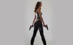 Picture girl, gun, Wallpaper
