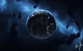 Picture space, stars, nebula, planet, art, galitaria
