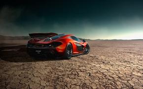 Picture McLaren, Orange, Storm, Road, Supercar, Desert, Rear