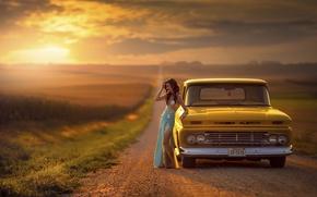 Picture road, machine, auto, girl, Chevrolet, space