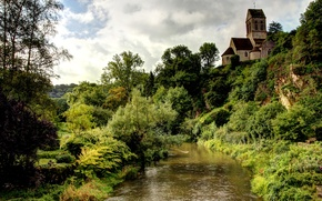 Picture trees, house, stream, France, the bushes, Saint-Ceneri-le-Gerei
