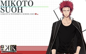Picture background, anime, art, guy, K Project, red king, MSA