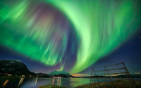 Picture the sky, stars, mountains, night, Northern lights, Aurora Borealis