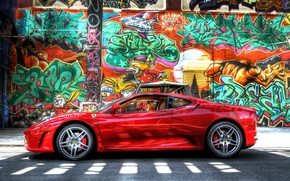Picture wall, graffiti, Ferrari