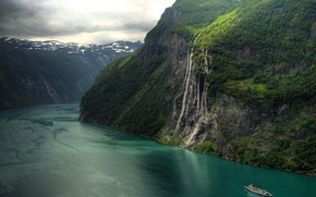 Wallpaper Seven Sisters Waterfall, Norway, beautiful, the fjord, waterfall, nature, mountains, ship, Geirangerfjord
