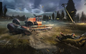 Wallpaper soldiers, tractor, Chernobyl, Stalker, harvester, S. T. A. L. K. E. R. 2