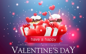 Picture heart, gifts, cupcakes, Valentine's day