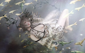 Picture girl, fish, pose