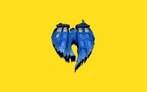 Picture Doctor Who, yellow background, Doctor Who, The TARDIS, TARDIS