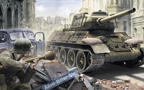 Picture war, figure, art, ambush, soldiers, The red army, T-34-85, Soviet medium tank during world war …