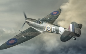 Picture flight, retro, the plane, fighter, art, in the sky, Spitfire, scout, interceptor, Supermarine