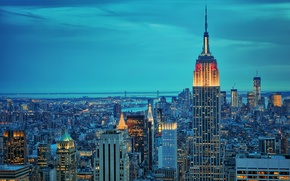 Picture night, city, the city, lights, New York, New York, New York, Brooklyn, empire state bulding