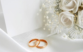 Wallpaper white, flowers, holiday, ring, wedding