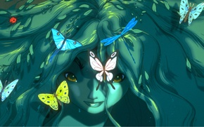 Picture look, butterfly, magic, girl, green hair, the witch