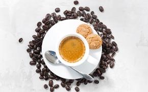 Picture coffee, grain, cookies, Cup, foam, espresso