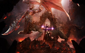 Picture girl, fantasy, magic, dragon, wings, sword, the demon, lava, Queen, Lord Sorrow