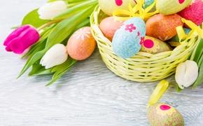 Wallpaper flowers, eggs, Easter, tulips, Easter