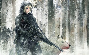 Picture winter, forest, girl, blood, figure, wolf, machine