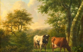 Picture animals, cow, picture, Landscape with Cattle, Adolf Karel Maximiliaan Engel