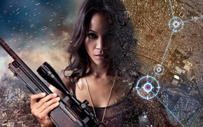 Picture fire, flame, girl, woman, america, face, sniper, map, brunette, assassin, shooter, pose, rifle, actress, spark, …
