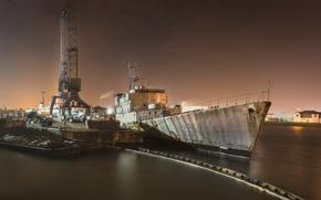 Wallpaper ship, night, port