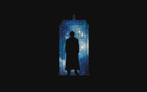 Picture space, stars, silhouette, black background, Doctor Who, Doctor Who, The TARDIS, BBC, TARDIS, Police Box, …