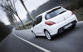 Picture road, Peugeot, peugeot, trees cars, 308 gti