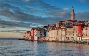 Picture city, tower, sky, sea, landscape, sunset, clouds, houses, buildings, architecture, cityscape, Croatia, church, Rovinj, bell …