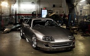 Picture grey, tuning, garage, sports car, Toyota, tuning, Supra, the front, Toyota, Supra