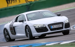 Picture car, Audi, white, supercar, wallpapers, track