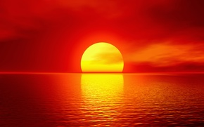 Picture sea, the sun, sunset, red, horizon