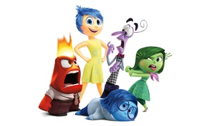 Picture emotions, cartoon, white background, Disney, Fear, Pixar, Puzzle, characters, Joy, Inside Out, Anger, Disgust, Sadness