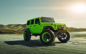 Picture Green, Front, Sun, Forged, Custom, Wrangler, Jeep, Wheels, Track, ADV1, Function