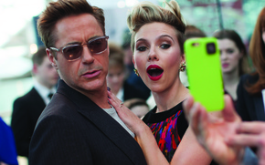 Picture celebrity, photography, frame, Scarlett Johansson, Scarlett Johansson, actors, Marvel, London, Robert Downey Jr., Robert Downey ...