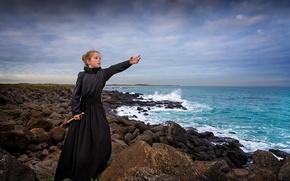 Picture sea, stones, coast, dress, girl, waiting, spyglass