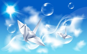 Picture the sky, rays, birds, reflection, bubbles, creative, origami