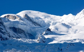 Picture the sky, snow, stones, mountain, shadow, Alps, Blanc, (4 810 m)