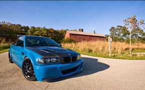 Picture road, bmw, BMW, the hood, carbon, blue, blue, country, e46