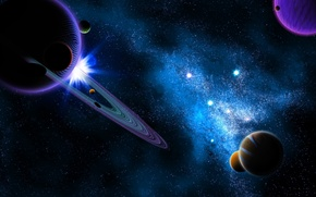 Wallpaper cosmos, planets, sci fi