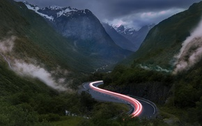 Picture road, light, mountains, excerpt