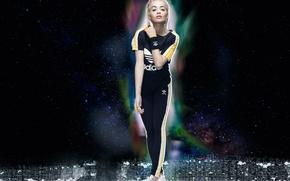 Wallpaper costume, photoshoot, the sky, Rita Ora, sneakers, singer, blonde, clothing, background, advertising, brand, 2015, pants, ...