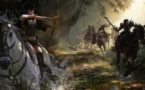 Picture girl, squirt, stream, horses, shot, bow, Archer, art, running, undead