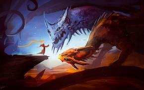 Picture dragon, art, Dota 2, Lina, Jakiro, Lina the Slayer, Twin Head Dragon