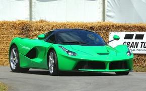 Picture green, ferrari, track, LaFerrari