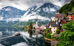 Picture clouds, mountains, nature, the city, lake, home, Austria, Church, Austria, Hallstatt, Salzkammergut, Hallstatt
