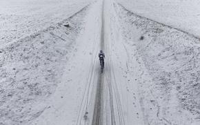 Picture road, snow, bike