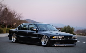 Picture bmw, BMW, wheels, black, jdm, tuning, front, face, germany, low, e38, alpina, stance, 750i, 740i, …