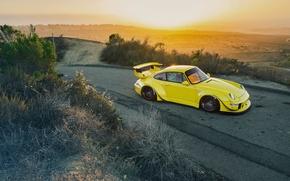 Picture Porsche, Yellow, 964, Turbo, Road, RWB