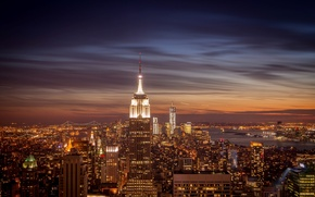 Picture Manhattan, skyscrapers, NYC, The Empire state building, the city, lights, Empire State Building, the evening, ...